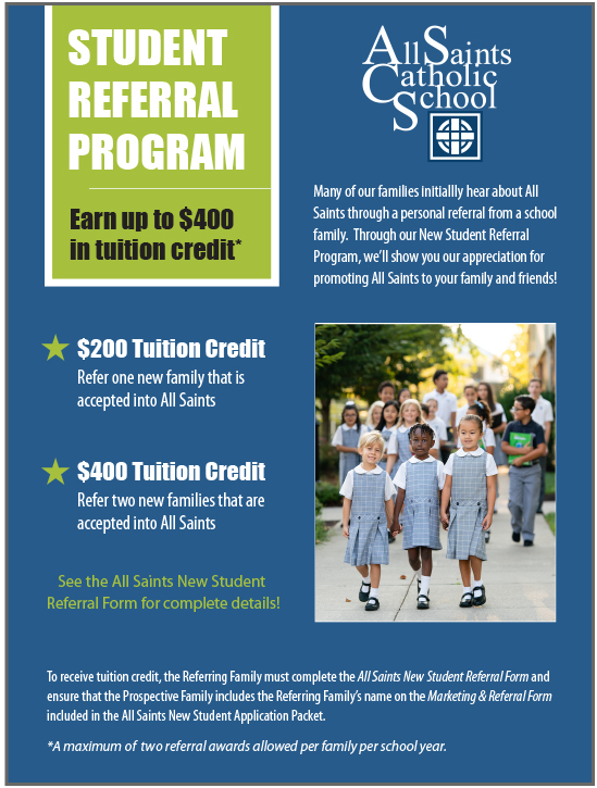 New Student Referral Program - All Saints Catholic School